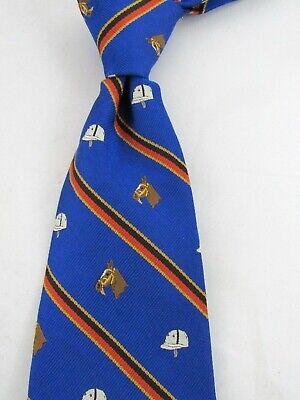 Italian Polo Ralph Lauren Blue Stripe Woven Novelty Silk Neck Tie   Blue Stripe Italian