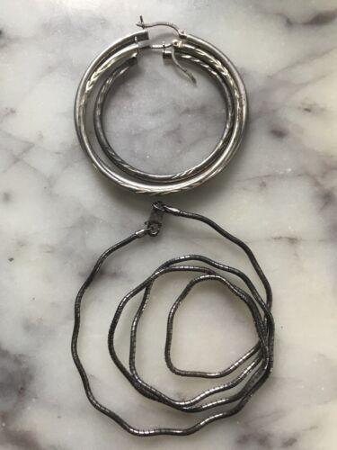 Sterling 925 Jewelry Lot Wear Or Scrap Earrings Hoops Singles And Wavy Chain - $4.99