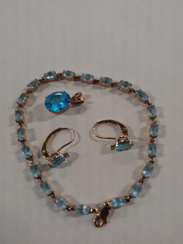 10K 14k lot set Yellow Gold Aquamarine Gemstone Tennis Bracelet Pendant Earrings