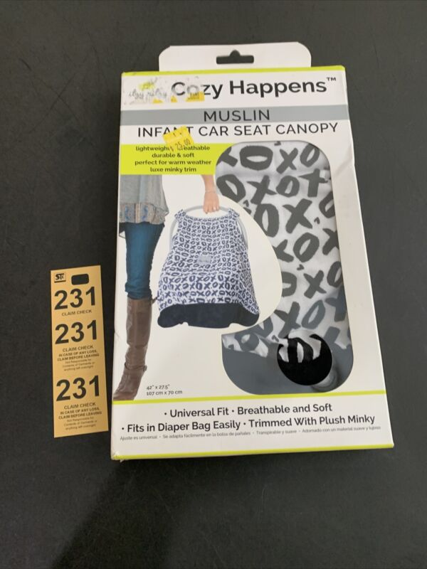 itzy ritzy Cozy Happens Muslin Infant Car Seat Canopy With Hugs & Kisses XOXO