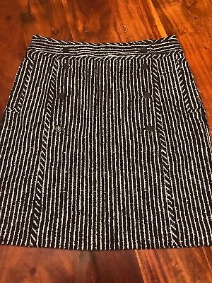 "TORY BURCH Brown/White ""Coconut Zig Zag"" Skirt New With Tags Size 12 (KM)"