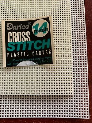 Darice Cross Stitch Plastic Canvas 14 Mesh 8.25 x 11 Single Sheet White or Ivory Plastic Canvas Cross