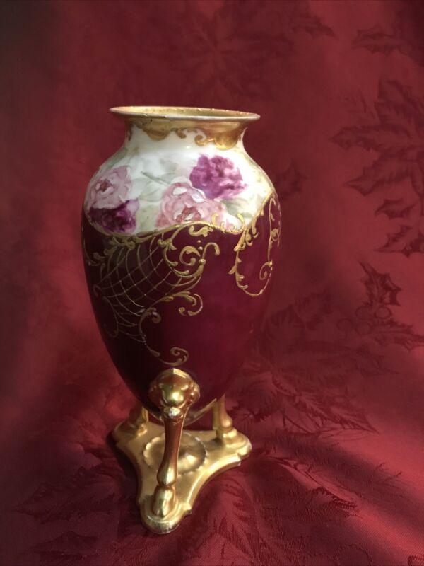 MR Limoges Porcelain 3 Legged Vase Urn Handpainted Roses Heavy Gilt