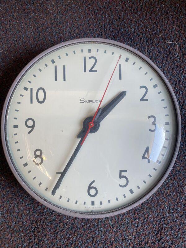 "VINTAGE SIMPLEX Glass Dome Industrial School Wall Clock 13"" 115 Volts Plug 7745"