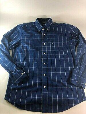 Nautica Size L Mens Button Up 100% Cotton Long Sleeve Blue Plaid Checked Shirt