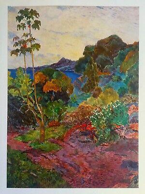 """GAUGUIN ORIGINAL VINTAGE 1972  LITHOGRAPH PRINT """" MARTINIQUE LANDSCAPE """" 1887"""