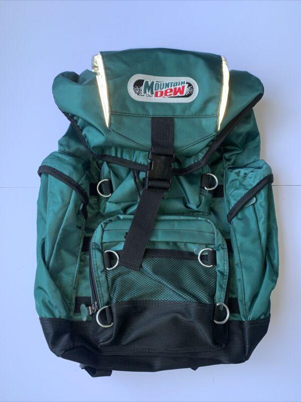 Vintage Mountain Dew Backpack Green Multiple Zippers Cinch