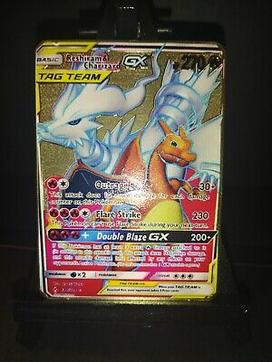 Pokemon Card - Reshiram & Charizard GX - 194/234 - Custom Gold Metal Card