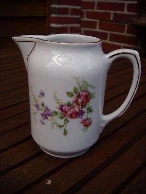 Schöne Historismus Porzellan Kanne Milchkanne Sahnekännchen Blumen Rose Goldrand