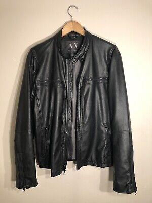 Genuine Men's ARMANI EXCHANGE Leather Jacket XL - Amazing Condition