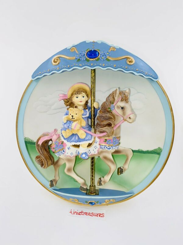 Bradford Exchange Plate Music Box W/Carrousel Horse That. When I Grow up tinie