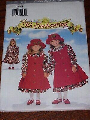 👼🏻 BUTTERICK #4163-GIRLS Peter Pan COLLAR DRESS-PINAFORE & HAT PATTERN 5-6X FF