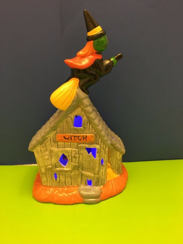 Vtg HALLOWEEN Haunted Witch House Tea Light Candle Holder ceramic Witch on Broom