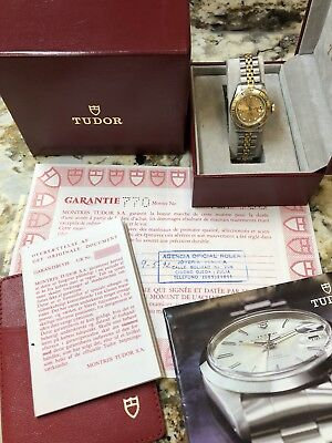 TUDOR ROLEX LADY-SUB REF. 96093 LADIES GOLD PLATED & STEEL WATCH W/ BOX & PAPERS