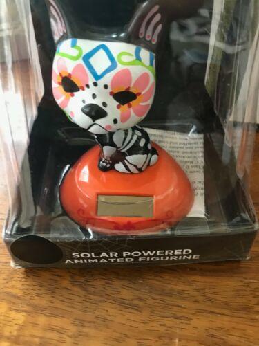 Sugar Skull Dog Solar Powered Dancing Toy Bobblehead Big Head NEW Novelty Puppy