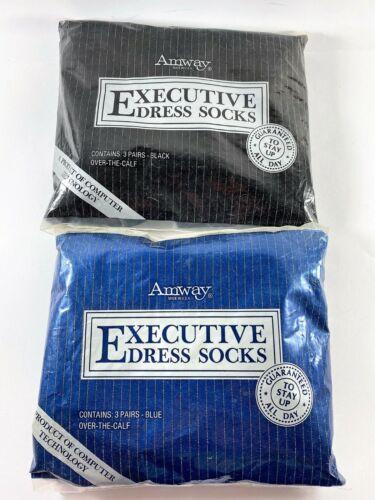 Vintage Amway Mens Over the Calf Dress Socks NIP 1983 Blue & Black Fits Sz 10-13