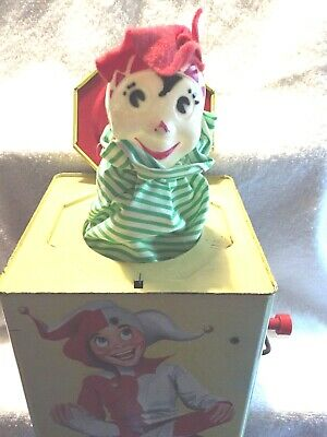 VINTAGE TOYS TIN JACK IN THE BOX LORRAINE NOVELTY CO. CARNIVAL CONN. WIND-UP