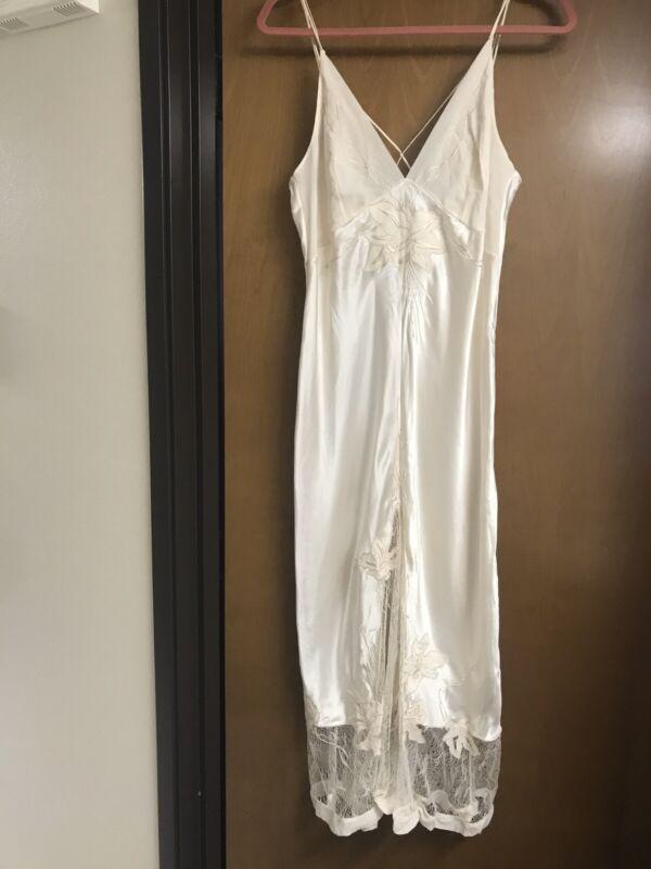 LA PERLA 100% SILK WHITE CHARMEUSE Soutache Embroidery Lace Gown DRESS size S