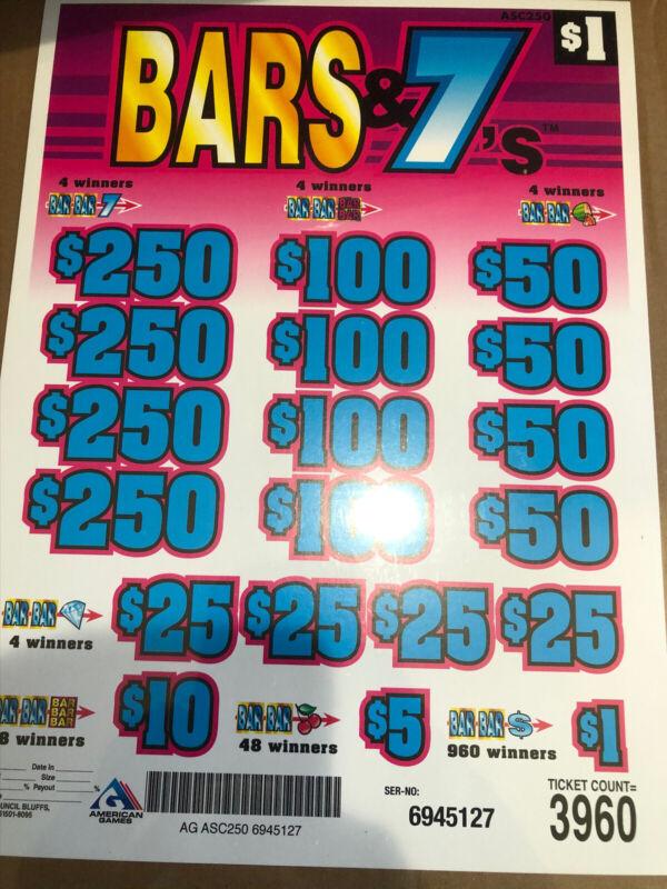 Pull Tabs ( Bar 7's ) Profit $980