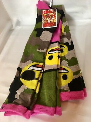 Emoji Knee High Socks - 3 Pair Assortment Multi-Color Green, Yellow PinK Sz 9-11