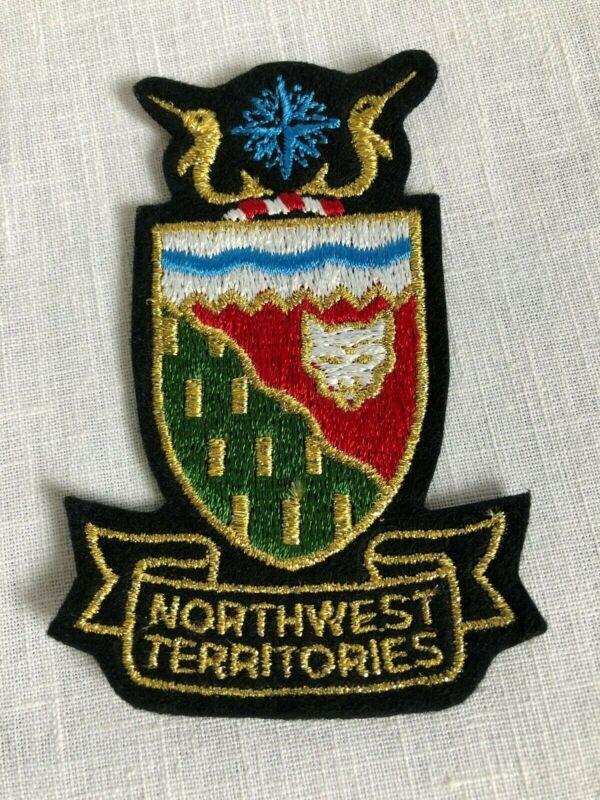 Northwest Territories Vintage Sew On Patch Shield Gold Gilt Souvenir