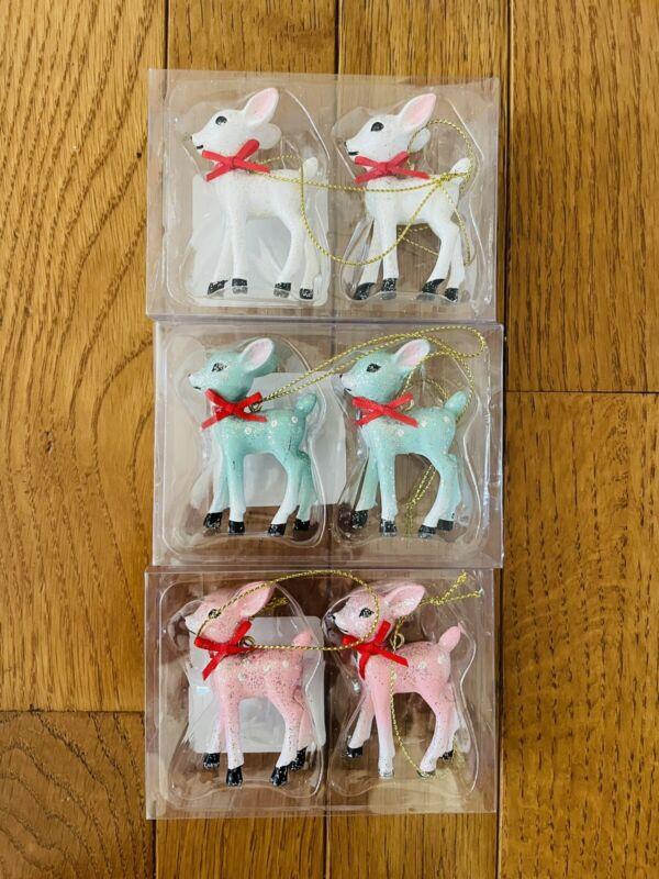 Target Wondershop Retro Blue Pink White Glitter Deer Reindeer Ornaments Lot 3