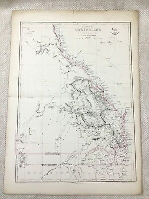 Antique Map of Australia Colony of Queensland Old Hand Coloured 19th Century