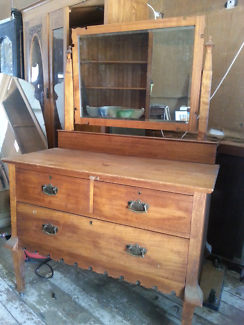 Antique 1920's Mirror Backed Oak Dressing Table