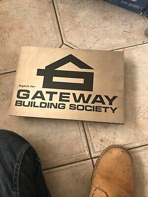 Vintage Gateway Building Society Agency Plaque Sign Stainless Steel