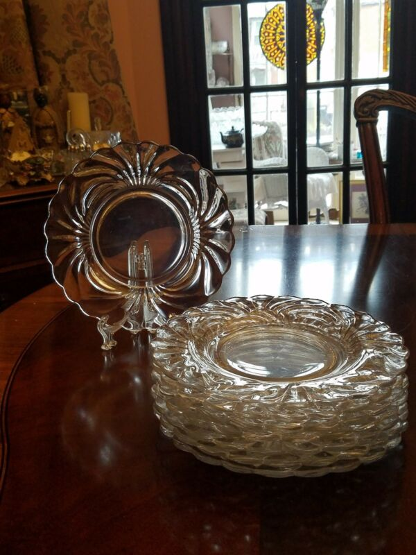 "Cambridge Caprice Clear 8 1/2"" Luncheon Plate set of 8"
