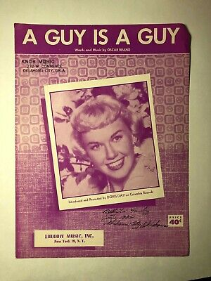Vintage Sheet Music A GUY IS A GUY Song by Doris Day  1952