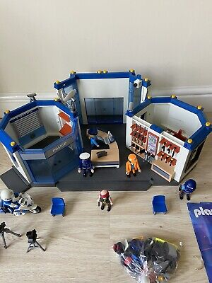 Playmobil Police Station 4264  + Motorbike 4262 + Lots of Extras - Figures Etc
