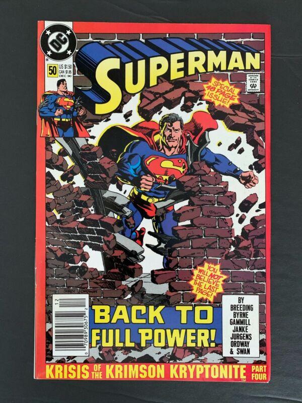 SUPERMAN 2ND SERIES #50 DC COMICS 1990 VF/NM NEWSSTAND