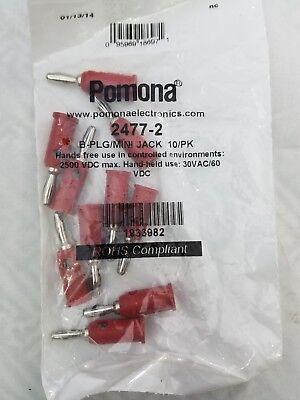 10 Lot Pomona 2477-2 Male Banana Plug To Female Mini Banana Jack Adaptor Red