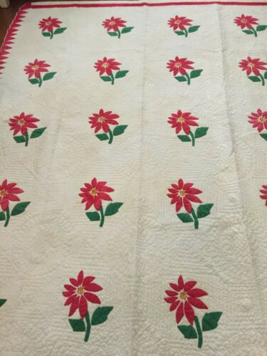 """Stunning! Antique c1880 Red & Green Peonies or Poinsettia QUILT 90 x 74"""""""