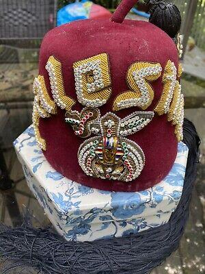 vintage Shriners Palestine jeweled fez w/long black tassel - D.Turin&Co. FL