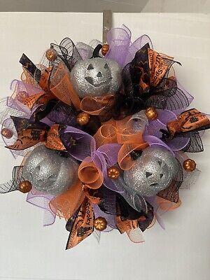 Deluxe Halloween Pumpkin door garland Silver purples and blacks