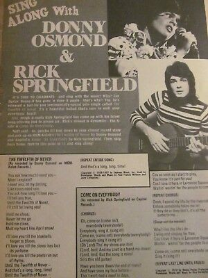 Donny Osmond, Rick Springfield, Full Page Vintage Clipping, Osmonds Brothers
