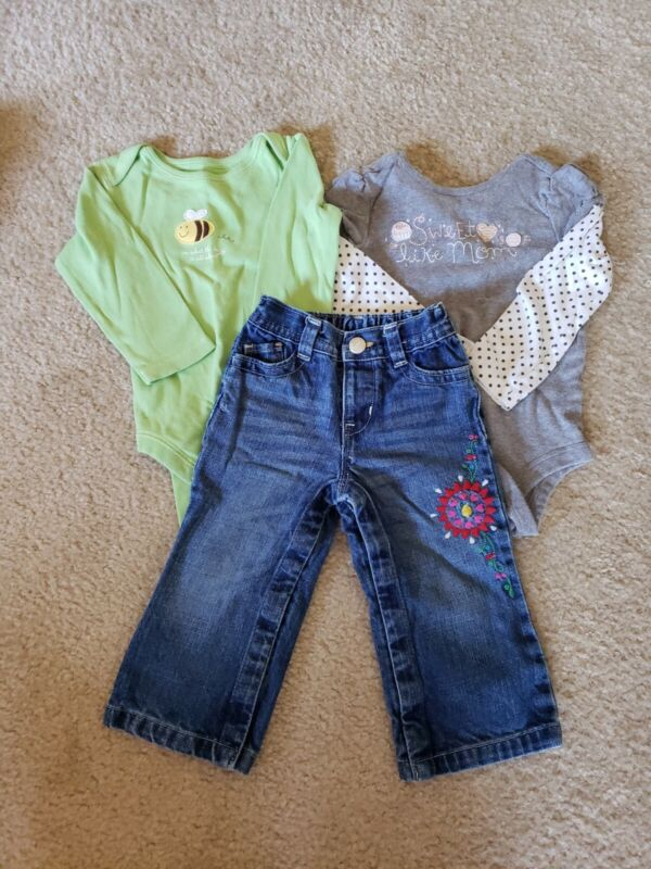 Lot Of 3 Babygap Baby Gap Girls 18-24 Months Pieces Jeans Bodysuits Bee Sweet