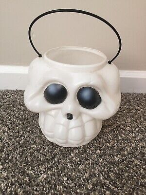 Vintage Halloween Skull Bucket Candy Pail Skeleton Face Blow Mold Trick or Treat