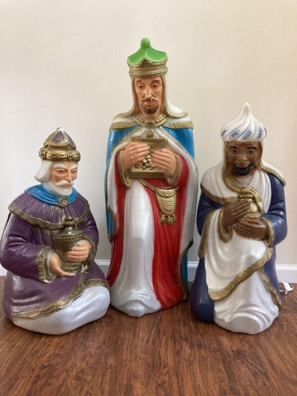Three Wise Men Vintage Blow Molds With Cords General Foam Plastics