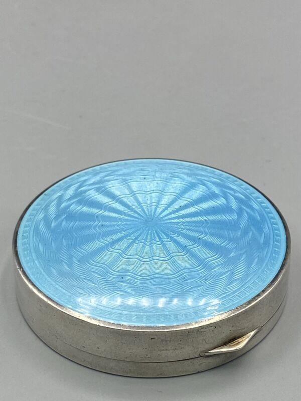 SILVER & GUILLOCHÉ ENAMEL POWDER BLUE TRINKET BOX - ENGLISH IMPORT MARKS 6cm Dia