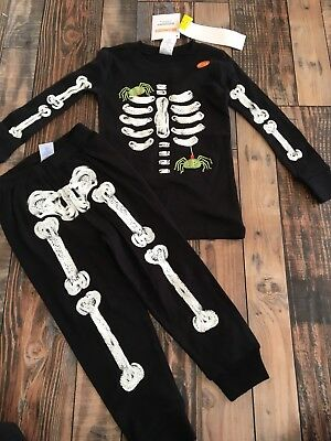 Gymboree Halloween (Gymboree Halloween Black Spider Skeleton  Glow in the Dark Pjs Nwt Size)
