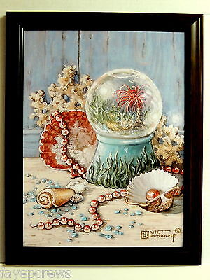 SEASHELL PICTURE TROPICAL BEACH WATER GLOBE PEARLS CORAL SEASCAPE FRAMED 12X16 ()