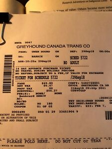 Owen Sound to Barrie and return 29 Sept - 01 Oct Tickets