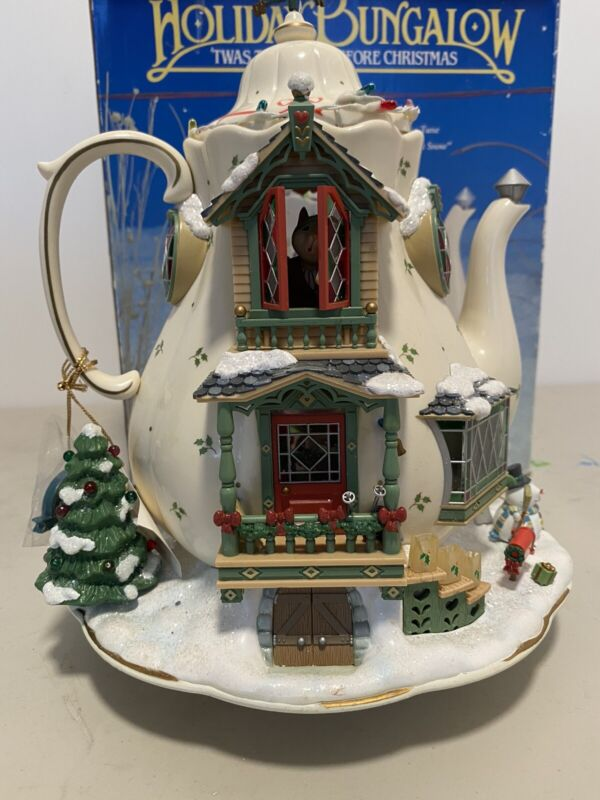 Holiday Bungalow Enesco Teapot Let it Snow Small World of Music Illuminated Mice