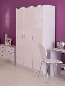 Ottowa White Gloss 3 Door Wardrobe with Hanging Rail ottawa