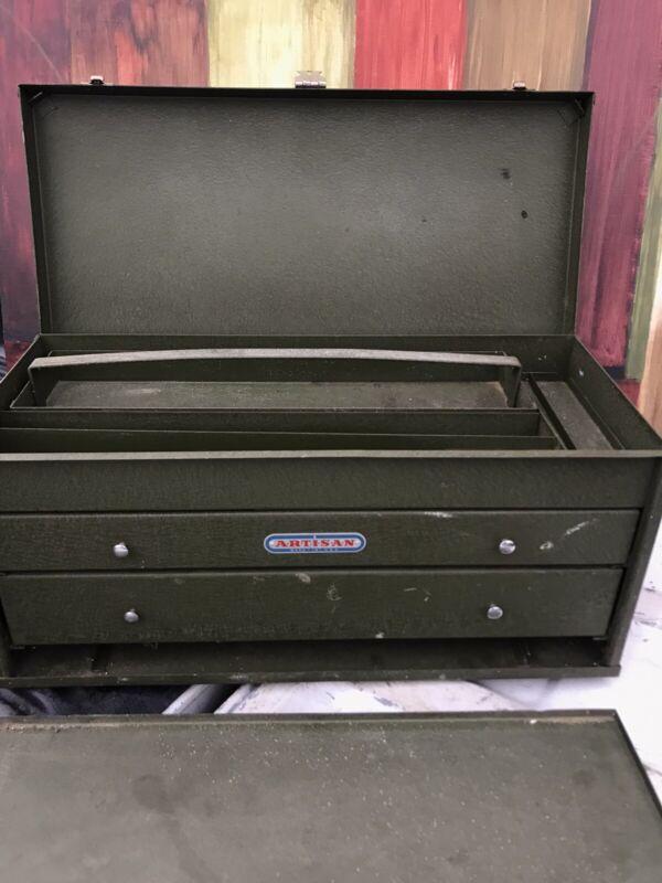 "1- Vintage ARTISAN Mechanics Military Green Heavy-duty Metal Toolbox 22""X10""X10"""