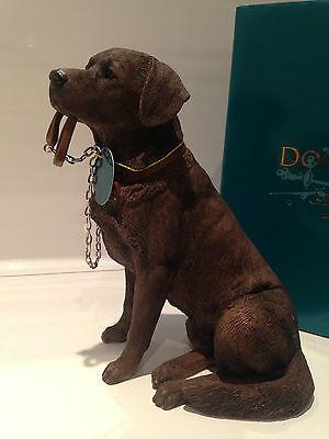 Chocolate Labrador Retriever Dog 'Sitting Walkies' Ornament Gift Figurine