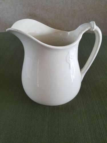 "Antique/Vintage ? Large White Ironstone Pitcher, 9-1/2"" tall, unmarked"